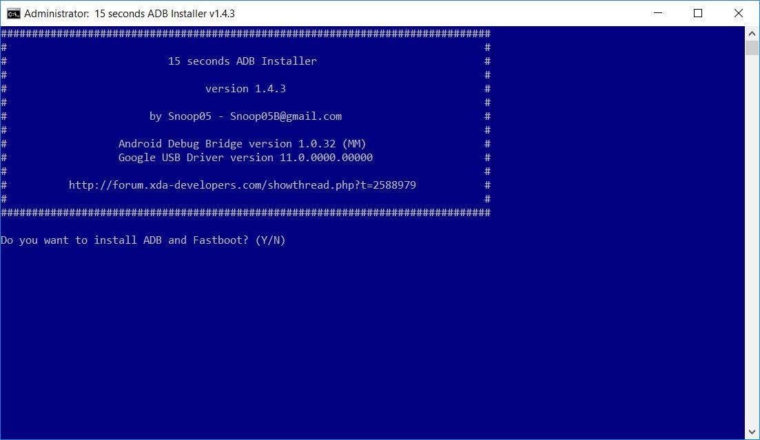 15 Seconds ADB and Fastboot Installer - Admet 7040D USB Drivers