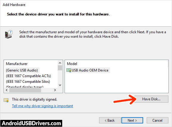 Add Hardware Have Disk - HPD J77 USB Drivers