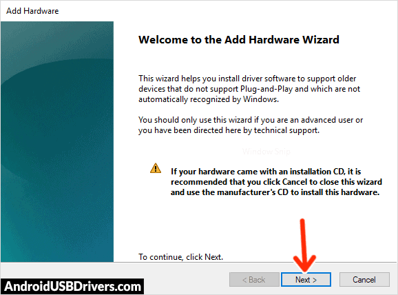 Add Hardware Wizard - Gtel A727 Infinity Pro USB Drivers