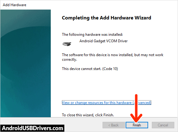 Android CDC VCOM Driver Installed - Advan i10 USB Drivers