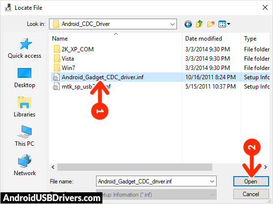 Android Gadget CDC driver inf - Bassoon P1000 USB Drivers