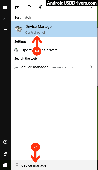 Device Manager Windows Start Menu Search - Acer Liquid Z2 Z120 USB Drivers
