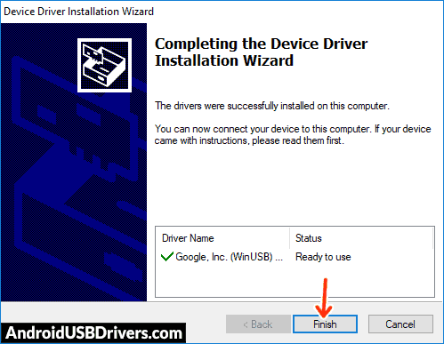Google USB Driver installation complete - Sky Elite 5.5L Plus USB Drivers