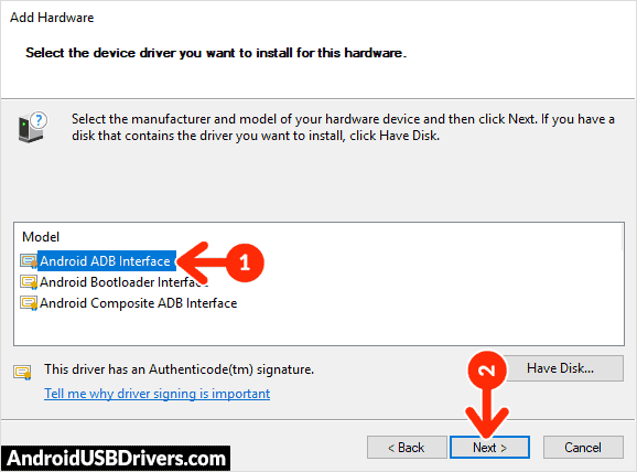 Install Android ADB Interface Driver - Vertex Impress In Touch 3G USB Drivers