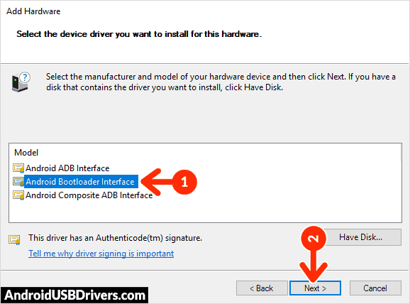 Install Android Bootloader Interface Driver - Adcom 707D USB Drivers