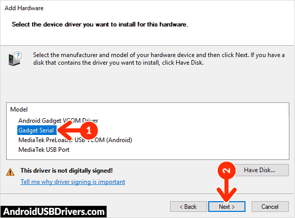 Install Android CDC Gadget Serial driver - 5Star A102 USB Drivers
