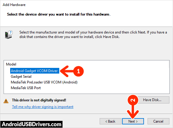 Install Android Gadget CDC VCOM Driver - SYH Forward F1 Plus USB Drivers