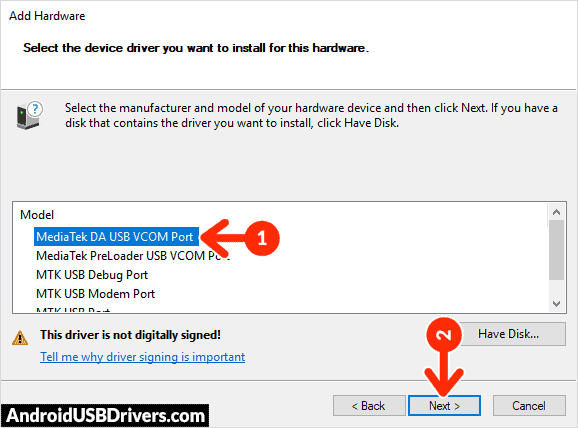 Install MediaTek DA USB VCOM Port - SYH Forward F1 Plus USB Drivers