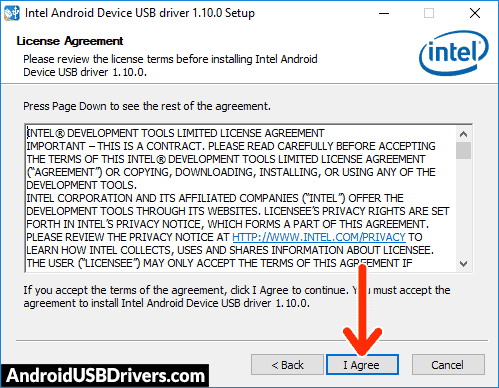 Intel Android USB Driver License Agreement - Odys WinPad Pro X10 USB Drivers