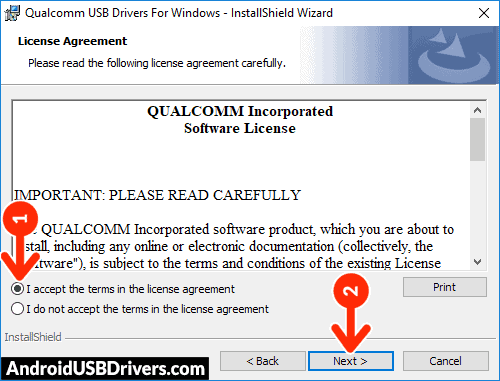 Qualcomm Drivers License Agreement - QMobile Infinity B USB Drivers