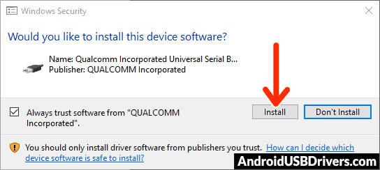 Qualcomm Drivers Windows Security window - AGM A8 SE USB Drivers